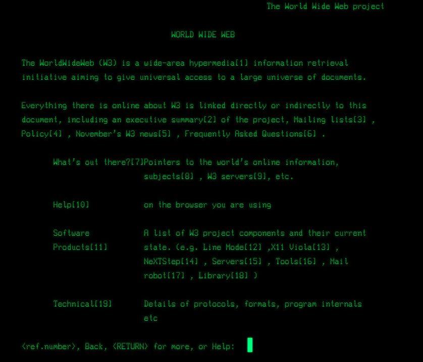 La première page web publié en 1990, encore visible sur le site du CERN.